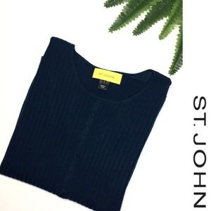 St John Navy Blue Wool Cable Knit Sweater
